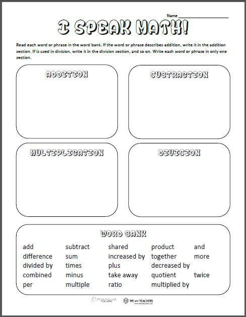 math worksheet : printable of the week math vocabulary sort  weareteachers : Math About Com Worksheets