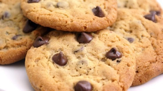 close up of delicious chocolate chip cookies.