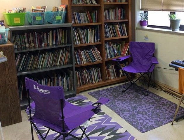 camping chairs in classroom